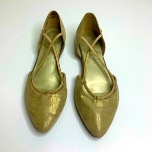 Anne Klein Sport pointed toe flats gold